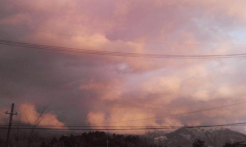 綿向山と夕焼け雲その2